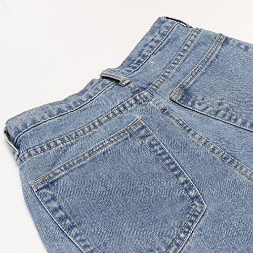 Lomon Jeans Boyfriend da Donna Anni '80 a Vita Alta Larghi con Gamba Classica (27, 1-Blu Jeans)