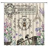 BYLLLFIR Paris Bee Garden Duschvorhang Eiffelturm Vintage Queen Gießkanne Französisch Landhaus Rustikal Natur Dekor Stoff Badezimmer Set mit Haken 177 x 177 cm, Beige