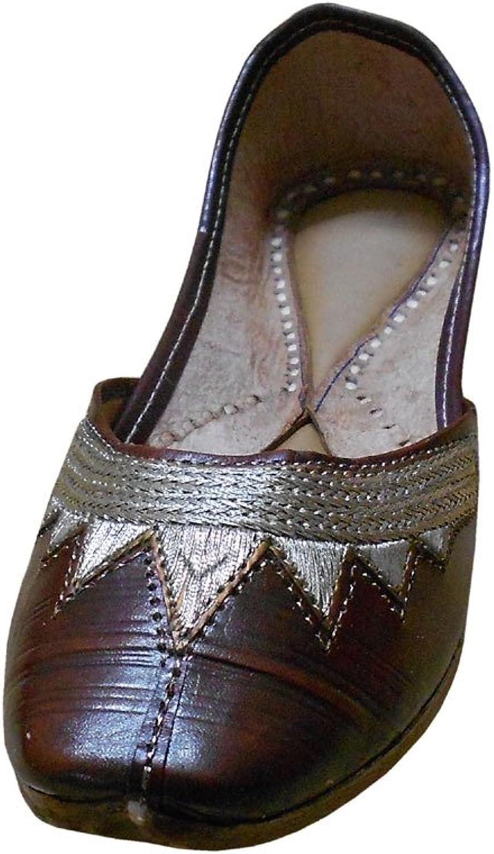 Kalra Creations Jutti Women's Traditional Indian Mojari Brown Leather Ethnic Flats
