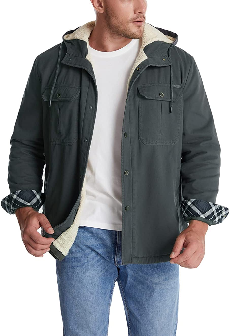chouyatou Men's Max Sales 83% OFF Thick Sherpa Lined Utility Tw Hooded Button-Down