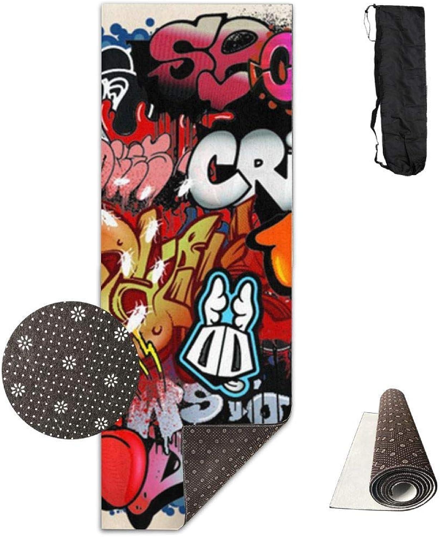 70Inch Long 28Inch Wide Comfort Velvet Yoga Mat, Graffiti Street Art Background Mat Carrying Strap & Bag