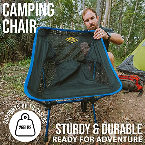 Camp Chair by Mountain Designs | Ultralight Camping Chair for Travellers | Durable Portable Chair Supports 270lbs | Quick Setup Folding Chairs for Adults is Ideal for Camping Accessories.