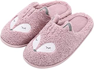 Women's Cute Animal Slippers Warm Memory Foam Cotton Home Slippers Soft Fleece Plush House Slippers Indoor Outdoor