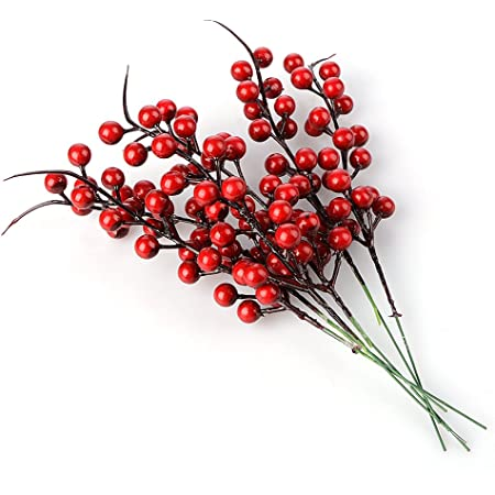 Christmas Artificial Flower Fruits Red Berries Branch 5PCS Home Decor Berry Stem