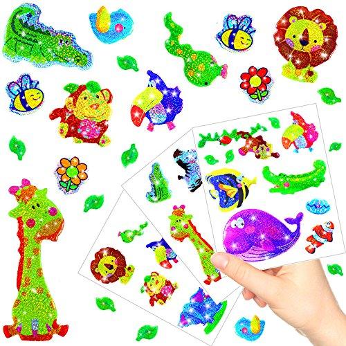 German-Trendseller ® - Kleine Glitzer Sticker Bögen ┃ NEU ┃ Viele Motive ┃ Kindergeburtstag ┃ Mitgebsel ┃ Aufkleber für Kinder ┃ 6 Bögen
