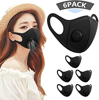 6 Pack Face Masks, Anti Dust Mask with Breathing Valve, Skin