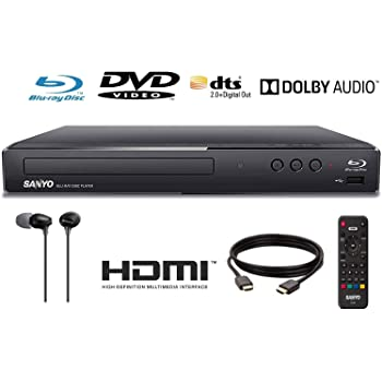 Sanyo FWBP506F Blu-ray Player 6FT HDMI Cable and Sony MDR-EX15LP Included (Renewed)
