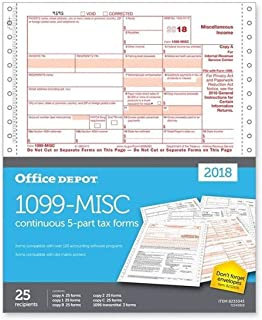 "Office Depot Brand 1099-MISC Continuous Tax Forms for 2018 Tax Year, 5-Part, 9"" x 11"", Pack of 25 Forms"