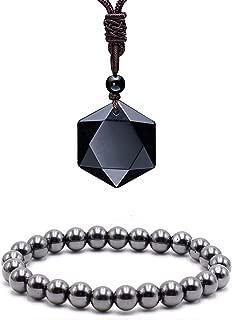 Black Obsidian Hexagram Natural Stone Pendant Necklace and Hematite Bracelet Hematite Metal Magnetic Therapy Bracelets