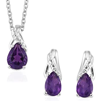 2 Ext. Sterling Silver Purple Color /& Clear Oval CZ Earring /& Necklace Set 16