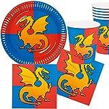 Kit de fête de 25 pièces - Chevalier + dragon - Pour anniversaire d'enfant avec assiettes, gobelets, serviettes et décorations - Motif croix Knight - Pour enfants