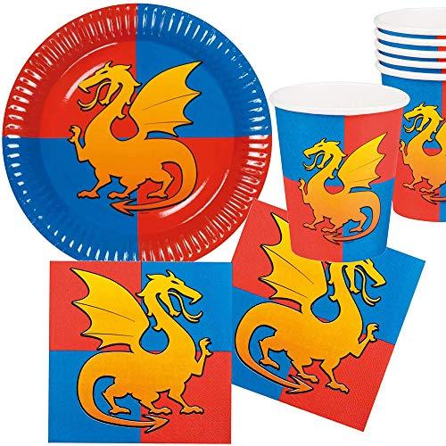 25-teiliges Party-Set * Ritter + Drachen * für Kindergeburtstag mit Teller + Becher + Servietten + Deko | Knight Kreuzritter Kinder Geburtstag Mottoparty