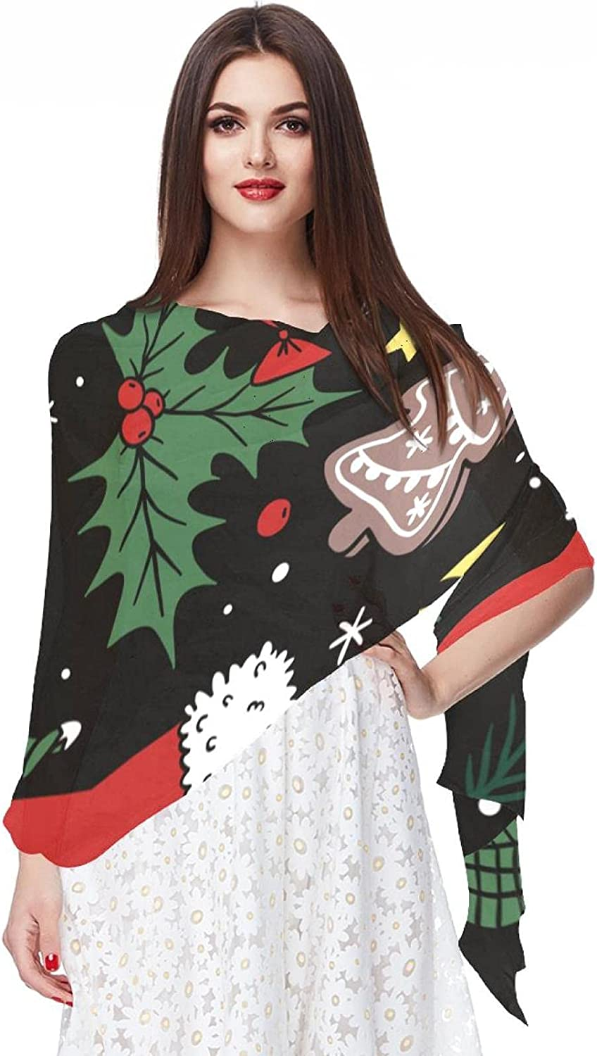Scarfs for Women Lightweight Fashion Scarves Print Floral Pattern Scarf Shawl Wraps, Christmas Elements