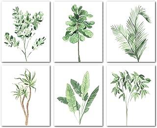 Avamie 6 Pack Boho Greenery Wall Art Prints, 8x10 inch Boho Minimalist Green Leaves Wall Art Prints Decor, Unframed, Botan...