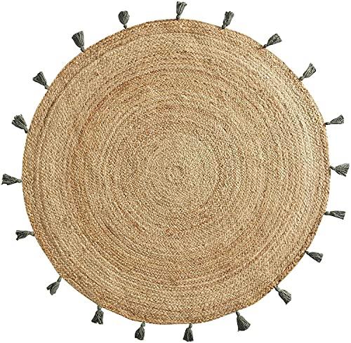 TIENDA EURASIA® Alfombra Yute Redonda - Alfombra de Yute Lisa con Pompones - Ø120 cm - Estilo Nordico (Caqui)