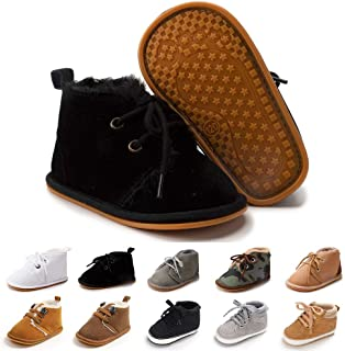 Sponsored Ad - Baby Boys Girls Booties Fleece Anti-Slip Soft Sole Boots Toddler First Walker Warm Shoes