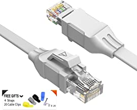 Cat 6 Ethernet Cable (at a Cat5e Price but Higher Bandwidth) Flat Internet Network Cable - Cat6 Ethernet Patch Cable Short - Computer LAN Cable with Snagless RJ45 Connectors Support 1Gbps 250Mhz white 100ft White 100ft white