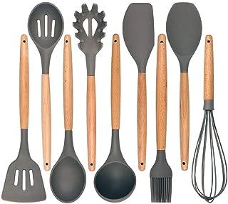 ZOUJIN 1Pc Non-stick Silicone Baking Cooking Tools Set Utensil Wooden Handle Spatula Kitchen Utensils Set Cookware Kitchen...