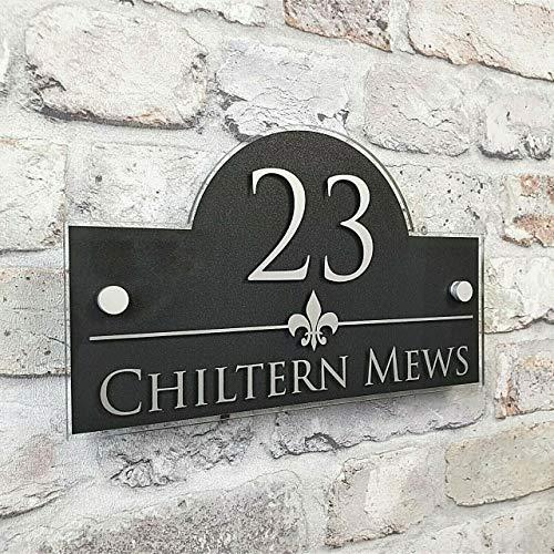 AYGANG Personalizar Modernos DE LA Puerta NÚMERO/Placa de dirección, Vidrio acrílico Exterior Muestra de la casa (Color : Silver Grey, Size : 200x140mm)