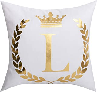 BLEUM CADE Throw Pillow Cover Bronzing L Letter Cushion Case Decorative Pillowcase for Home Sofa Bed Car (White and Golden, 18 × 18 Inch)