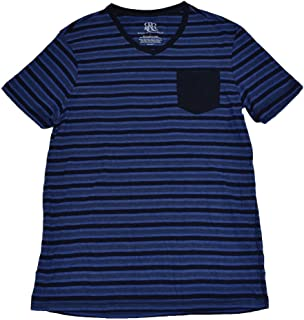 Mens Striped T-Shirt V Neck with Pocket