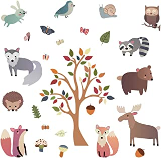 decalmile Woodland Animal Wall Decals Deer Fox Tree Wall Stickers Nursery Wall Art Decor Kids Bedroom Baby Room Decoration
