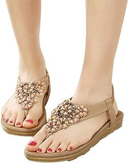 Hemlock Women's Summer Sandals Clip Toe Flat Shoes Bohemian Sandals (US:5.5, Khaki)