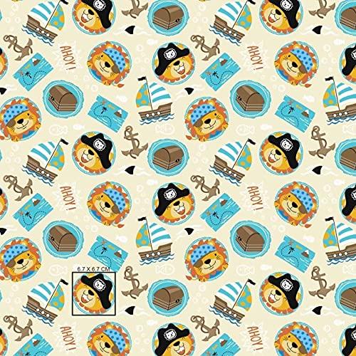 Tela de algodón para niños, 100 % algodón, por metros, artesanía, tela de costura, diseño de león, pirata, 100 x 160 cm