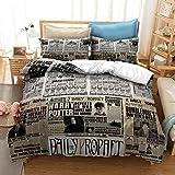 Bedding Duvet Cover Harry Potters Lightweight Decorative Modern Style Microfiber, Soft Microfiber Bedding Set, 1 Duvet Cover&2 Pillow Cases, No Comforter