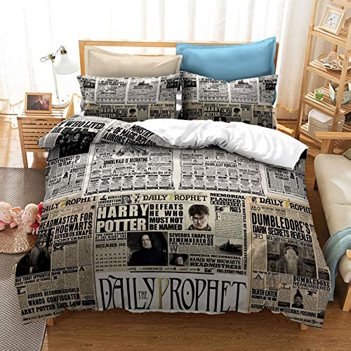 Bedding Duvet Cover King Size Hypoallergenic Harry Potters Lightweight Decorative Modern Style Microfiber, Soft Microfiber Bedding Set, 1 Duvet Cover&2 Pillow Cases, No Comforter