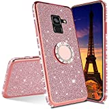 EMAXELER Samsung Galaxy J6 2018 Case Bing Glitter Diamond Shiny Luxury Plating TPU 360 Degree Ring Stand Bumper Silicone Protective Case Cover for Samsung Galaxy J6 2018 - Rose Gold Glitter KDL