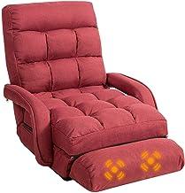 Folding Floor Sofa Bed, Adjustable Lounger Floor Sofa w/ Armrests & Massage Vibration Pillow, Padded Floor Recliner Chair,...