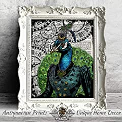 Set of 2 Art Prints Lion and Peacock Steampunk Wall Decor on Dictionary Book Pages #3