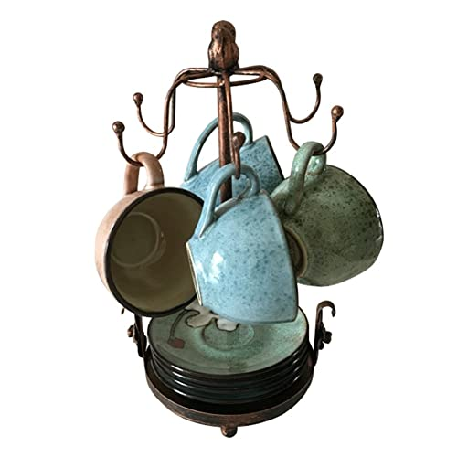 Creation Core Vintage Bronze Iron Coffee Cup Holder Storage Premium Rustic Tea Mug and Saucer Display