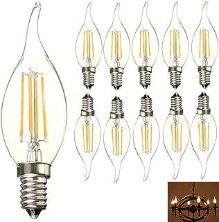 E14 Base LED Light Bulbs 4W C35 Antique Candelabra Filament Candle Lamp Bulb, Energy Saving Warm White 2700K Vintage Style Flame Shape Bent Tip Bulb, 40W Incandescent Bulb Equivalent (10 Pack))
