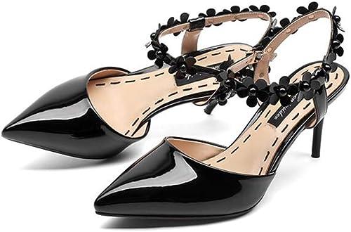 Fleurs Nude Pointu Chaussures Sandales Talons Hauts Femmes Fashion Fleurs 7.5CM (Noir Rouge Nude)