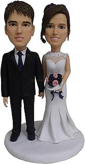 Bobbleheads Topper personalizzati Cake Topper Sposa e sposo Regalo per anniversario di matrimonio Mini statuetta bobblehea...