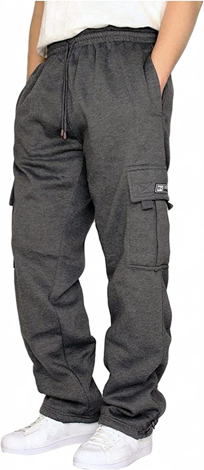 WOSHUAI Men's Big & Tall Cargo Pants with Multi-Pocket Casual Fitted Overalls Comfy Waist Solid Sport Pants
