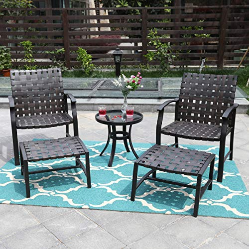 PHI VILLA Outdoor Patio Strap Strapping Chair and Ottoman