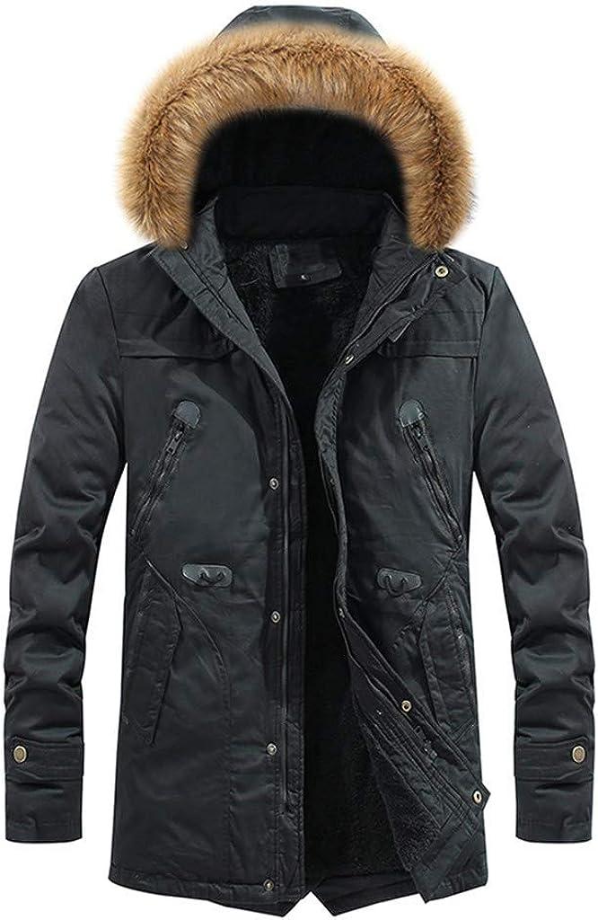 MODOQO Men's Hooded Down Coat with Fur Hood Long Sleeve Lightweight Warm Soft Winter Outwear Jacket