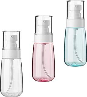 CM 3 Pcs Color Pump Bottle, 2 fl.oz / 60 ml Empty Portable Plastic Container with Pump Sprayer & Dust Cap for Cleaning Pro...