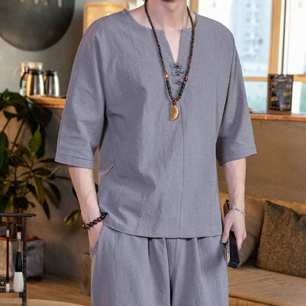 Mens Outfits 2 Piece Mens Linen Summer Beach Sweatshirt Set Loose Baggy Shorts and Chinese Knots T-Shirt