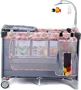 JYXZ Travel cot crib portable Baby bed folding bed bedside cot playpen  second level for infants babies  Storage Pocket  Carry Bag