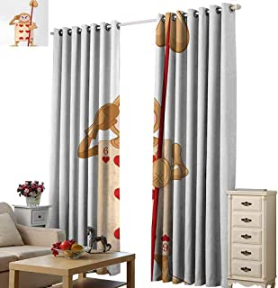 Homrkey Heat Insulation Curtain Alice in Wonderland Playing Card Illustration with Six of Hearts Alice Fiction Noise Reducing Curtain W96 xL72 Ecru Pale Brown Red