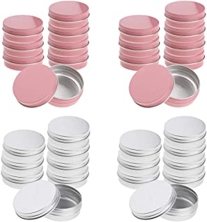 D DOLITY Pack of 32 Round Aluminum Tin Cans Screw Top, Round Containers Bulk Storage Organization for Lip Balm,Crafts,Cosm...