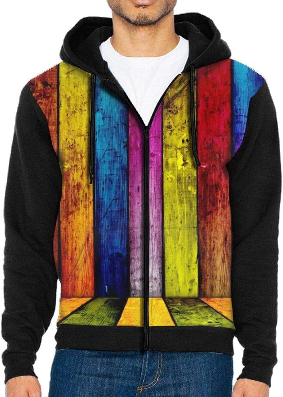 PIN Men's colorful Wooden Board Hoodie Baseball Sweater