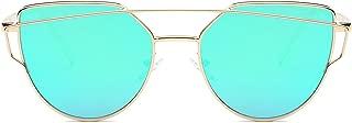 Cat Eye Mirrored Flat Lenses Street Fashion Metal Frame...