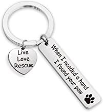 EIGSO Dog Lovers Keychain When I Needed A Hand I Found Your Paw Keychain Dog Lovers Gifts for Women Rescue Dog Gift (i Need Hand Love Rescue KR)