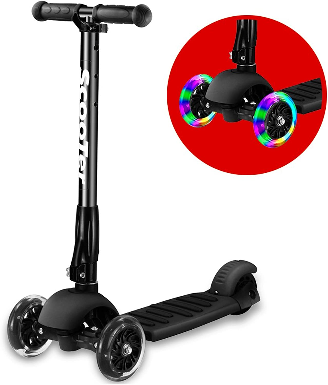 Greentest Scooter Foldable Adjustable Height Easy Turning 3 Wheel Scooter Kids Boys Girls Flashing PU Wheels (Black)