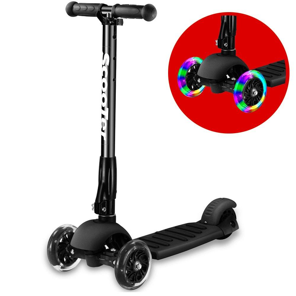 Greentest Scooter Foldable Adjustable Flashing
